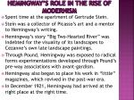 hemingway s role in the rise of modernism