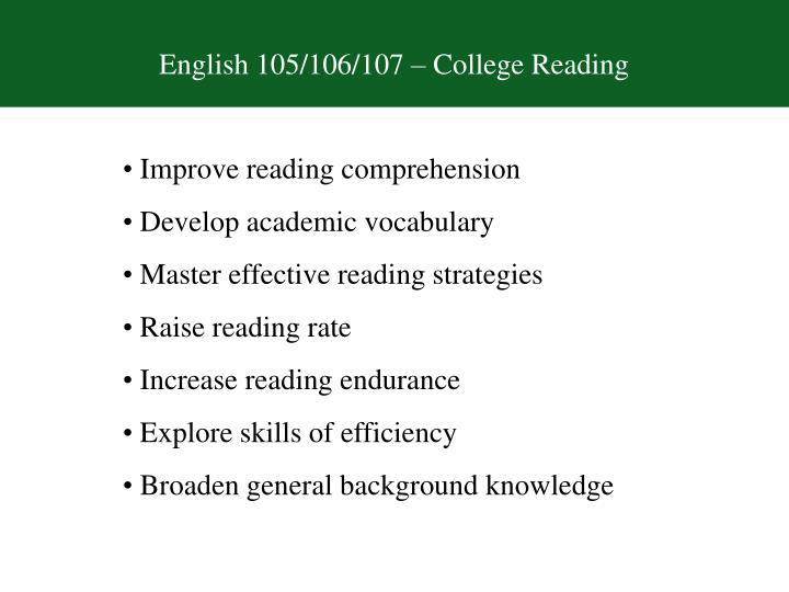 English 105/106/107 – College Reading