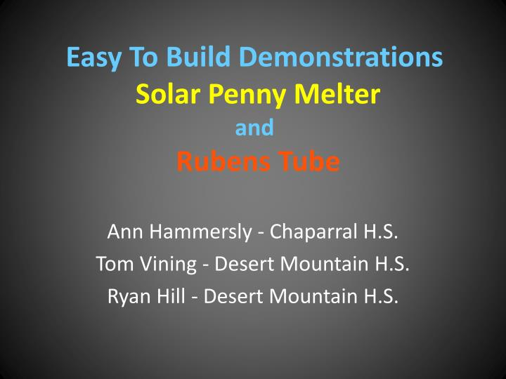 easy to build demonstrations solar penny melter and rubens tube n.