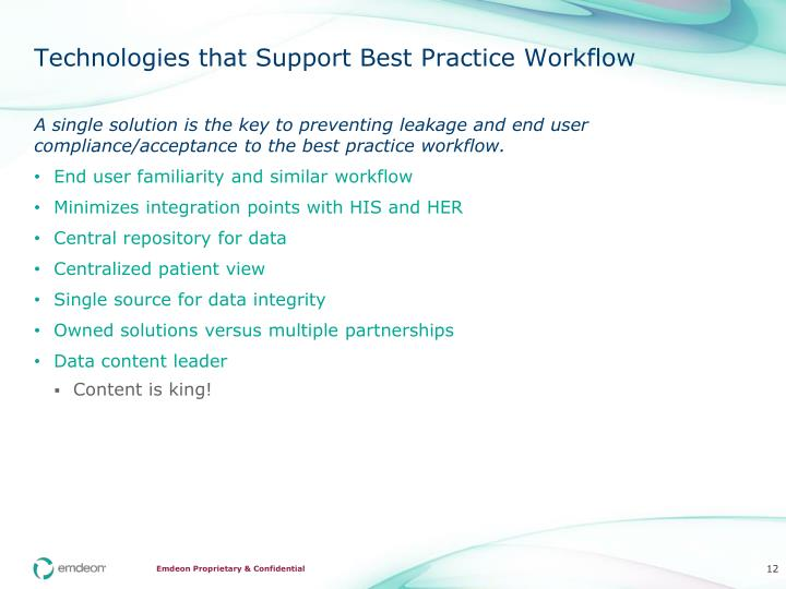 Technologies that Support Best Practice Workflow