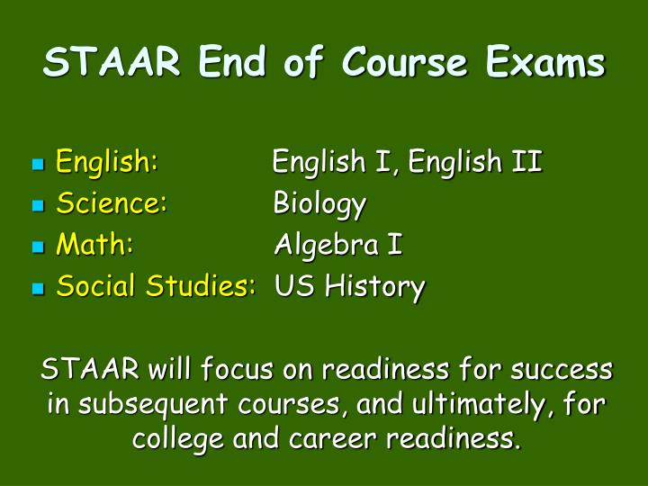 STAAR End of Course Exams