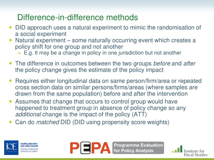 Difference-in-difference methods