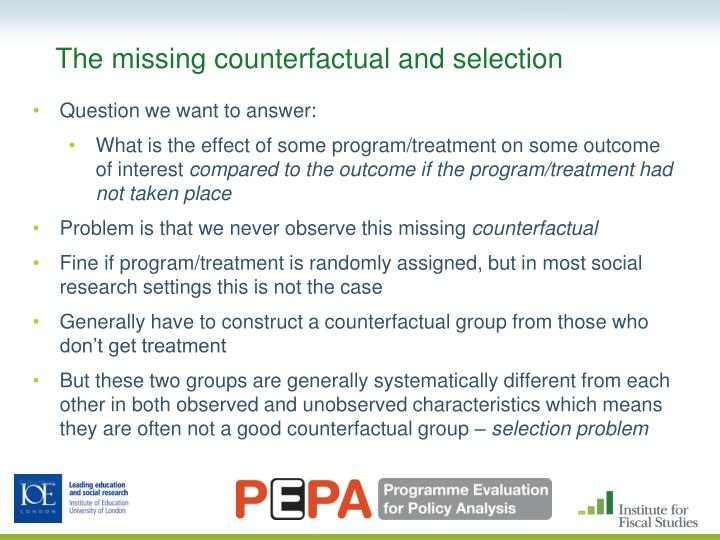 The missing counterfactual and selection