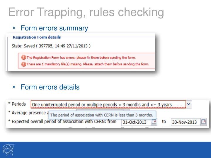 Error Trapping, rules checking