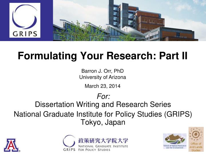 formulating your research part ii n.