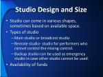 studio design and size