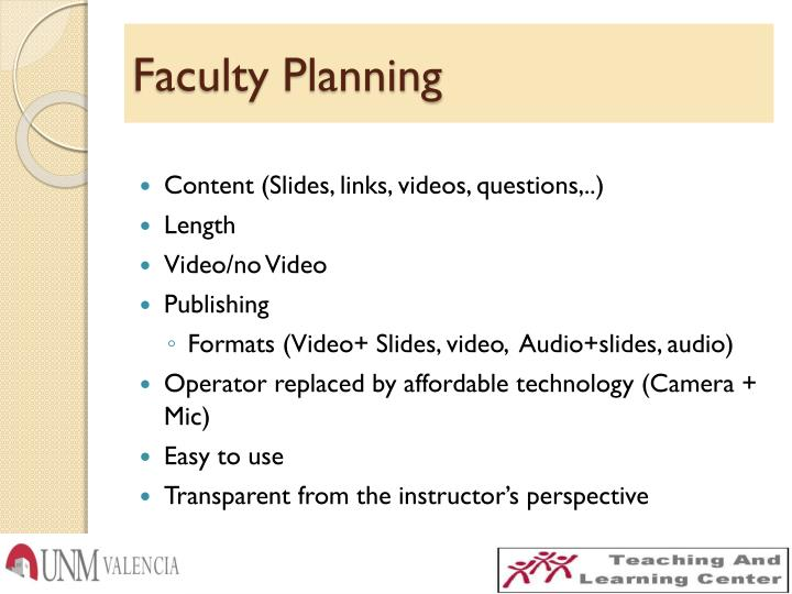 Faculty Planning