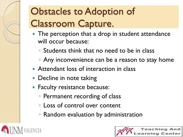Obstacles to Adoption of Classroom Capture.