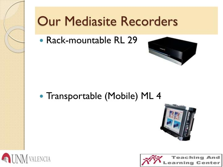 Our Mediasite Recorders