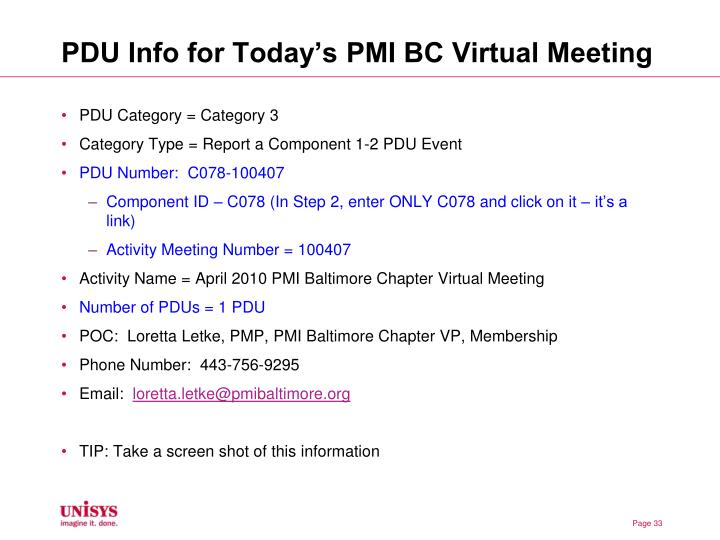 PDU Info for Today's PMI BC Virtual Meeting