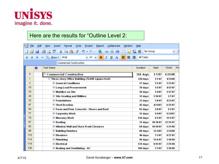 """Here are the results for """"Outline Level 2:"""