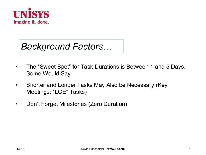 """The """"Sweet Spot"""" for Task Durations is Between 1 and 5 Days, Some Would Say"""