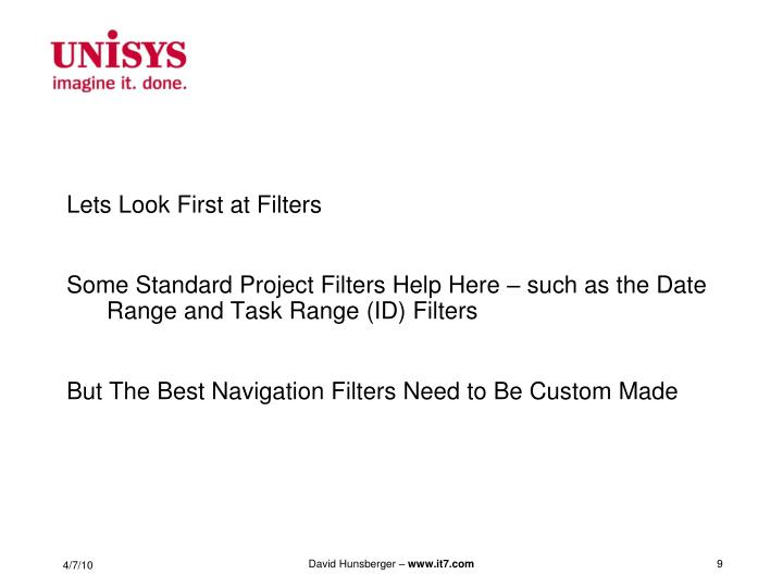 Lets Look First at Filters