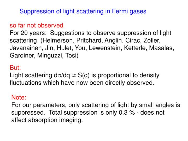 Suppression of light scattering in Fermi gases