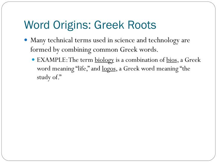 Word origins greek roots