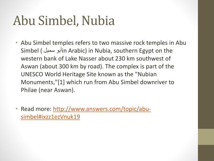 Abu Simbel, Nubia