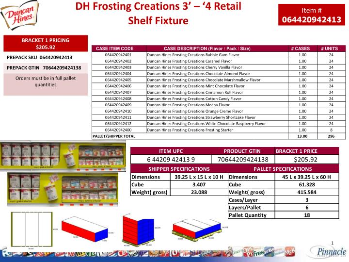 dh frosting creations 3 4 retail shelf fixture n.