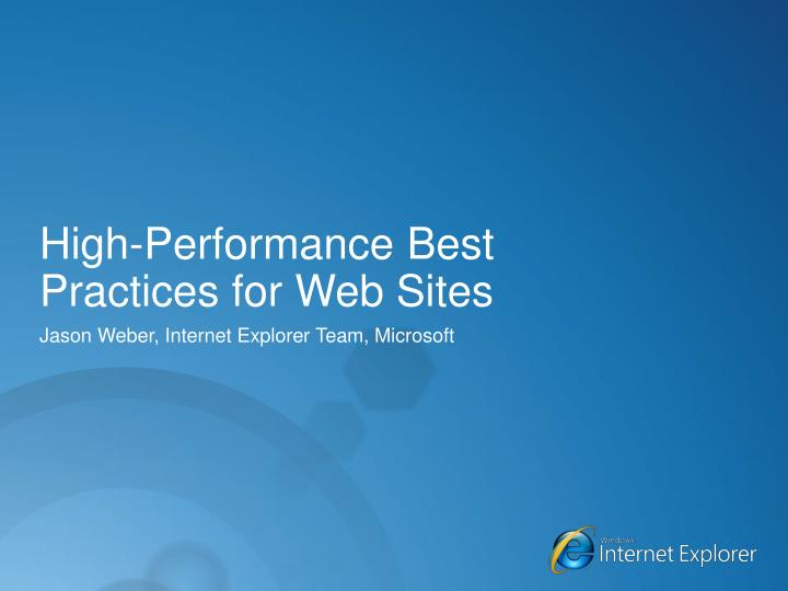 high performance best practices for web sites n.