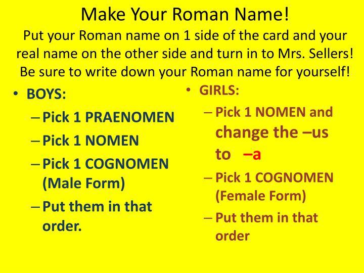 Make Your Roman Name!