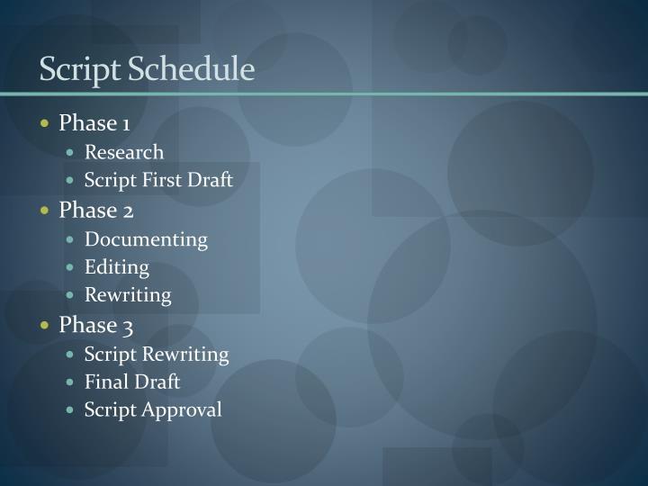 Script Schedule