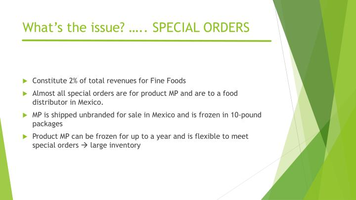 What's the issue? ….. SPECIAL ORDERS