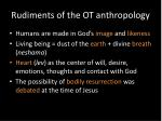 rudiments of the ot anthropology