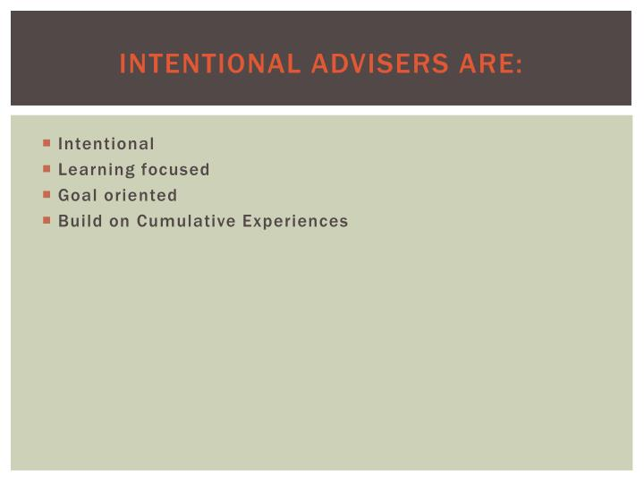 Intentional Advisers Are: