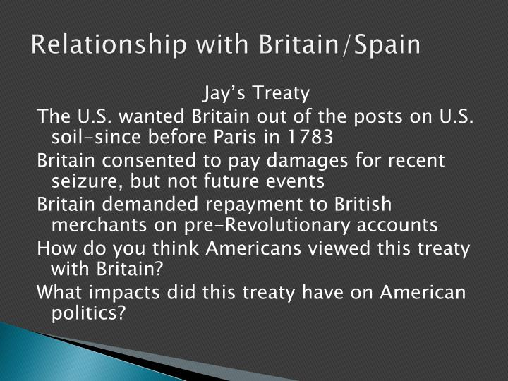 Relationship with Britain/Spain