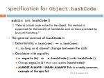 specification for object hashcode