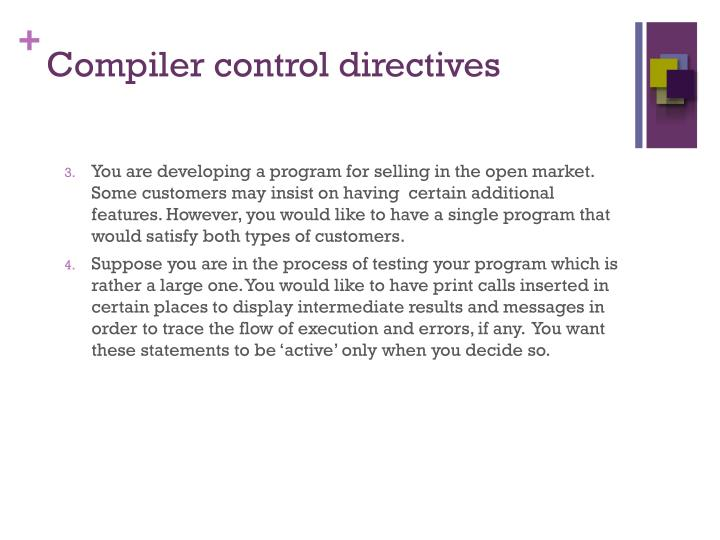 Compiler control directives