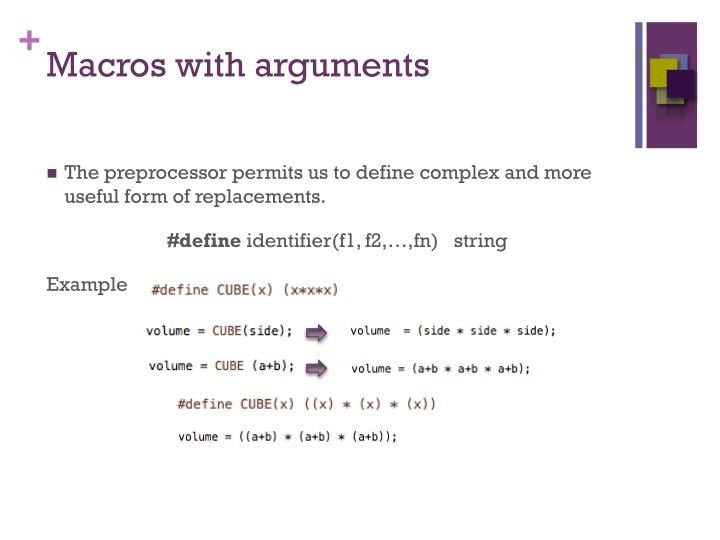 Macros with arguments