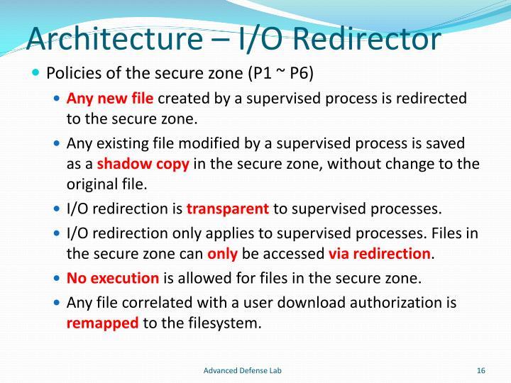Architecture – I/O Redirector