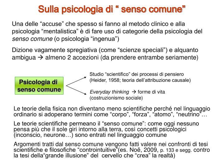"""Sulla psicologia di """" senso comune"""""""