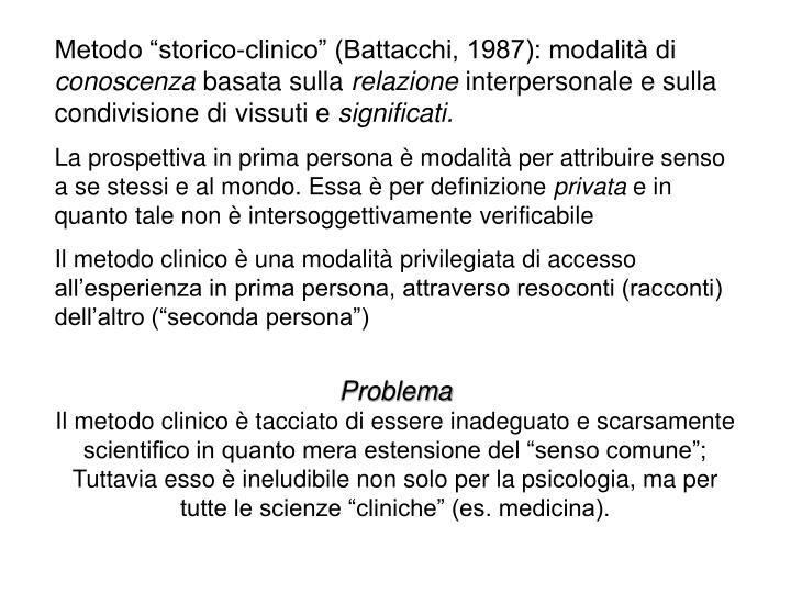 """Metodo """"storico-clinico"""" (Battacchi, 1987): modalità di"""