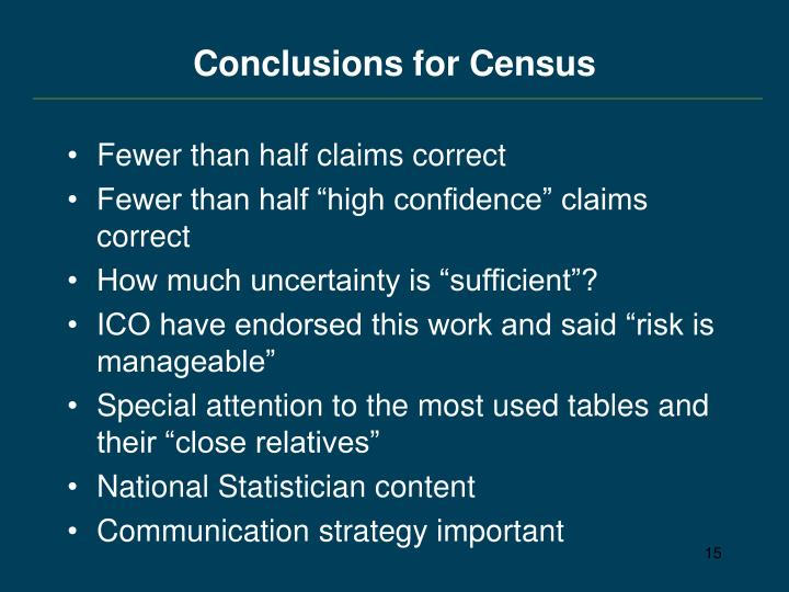 Conclusions for Census