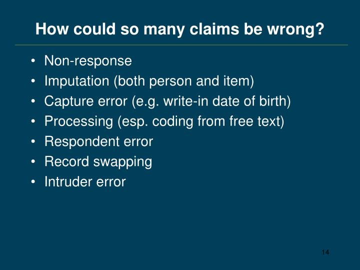 How could so many claims be wrong?