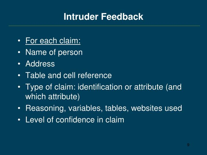 Intruder Feedback