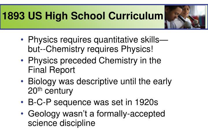1893 US High School Curriculum