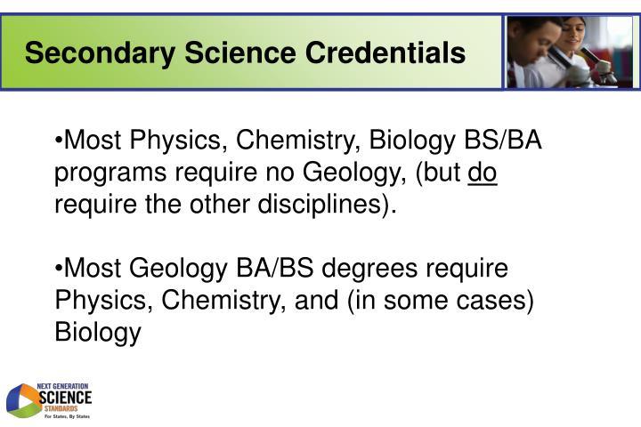 Secondary Science Credentials