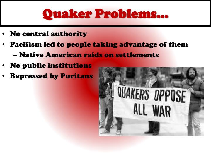 puritans vs quakers Summary of puritans vs quakers puritans and quakers helped pave way to religious freedom by coming to america in search of that freedom both religions believed in god and they both had the hope to create a society that would purify the christian religion.