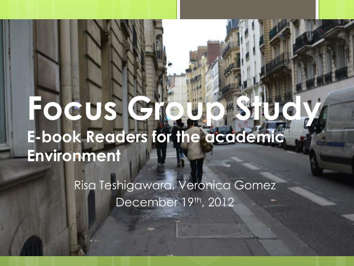 focus group study e book readers for the academic environment n.