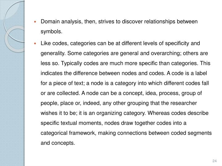 Domain analysis, then, strives to discover relationships between symbols.