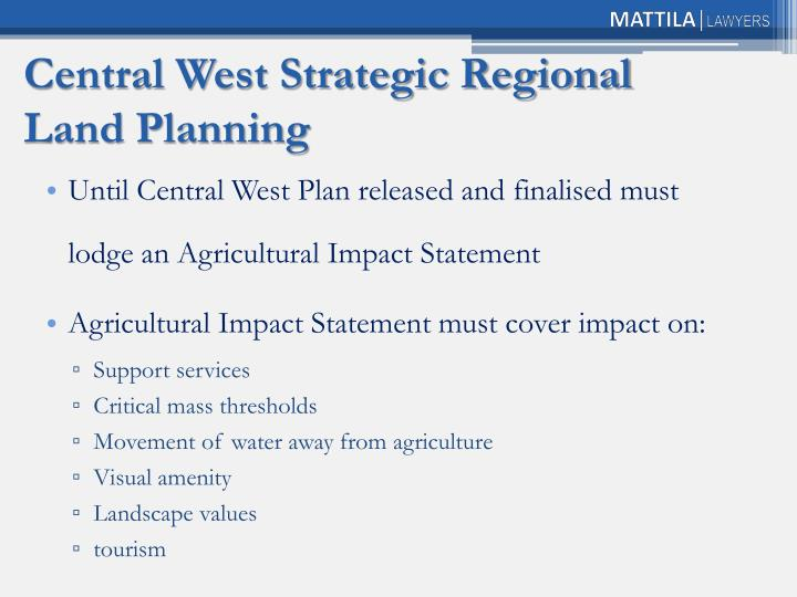 Central West Strategic Regional Land Planning