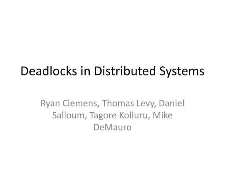 deadlocks in distributed systems n.