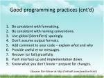 good programming practices cnt d