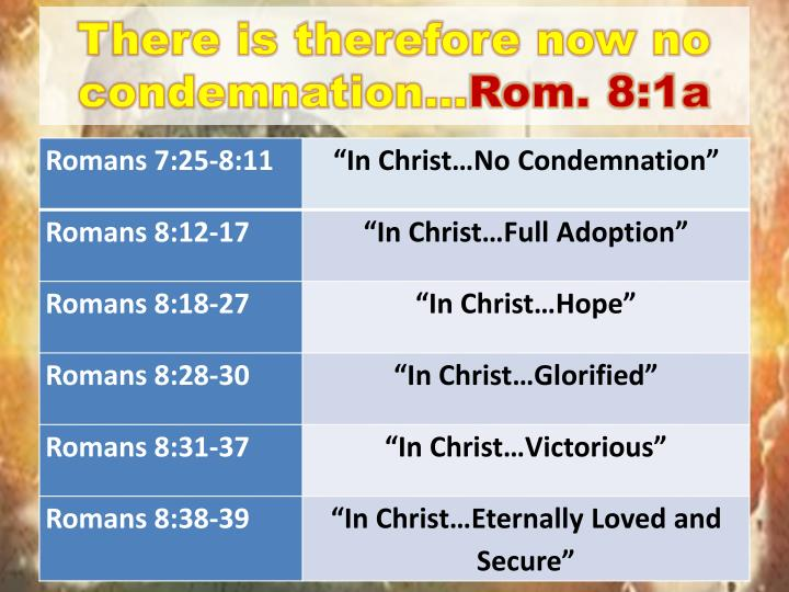 There is therefore now no condemnation…