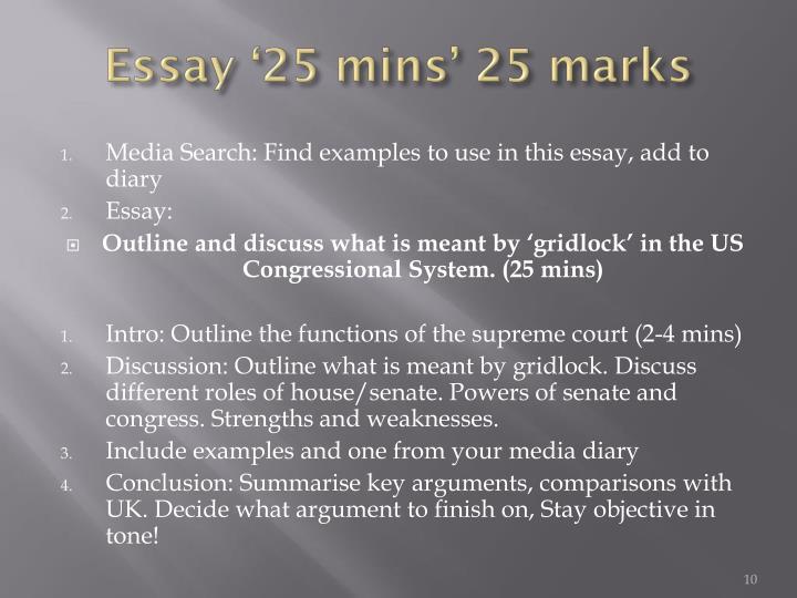 Essay '25 mins' 25 marks