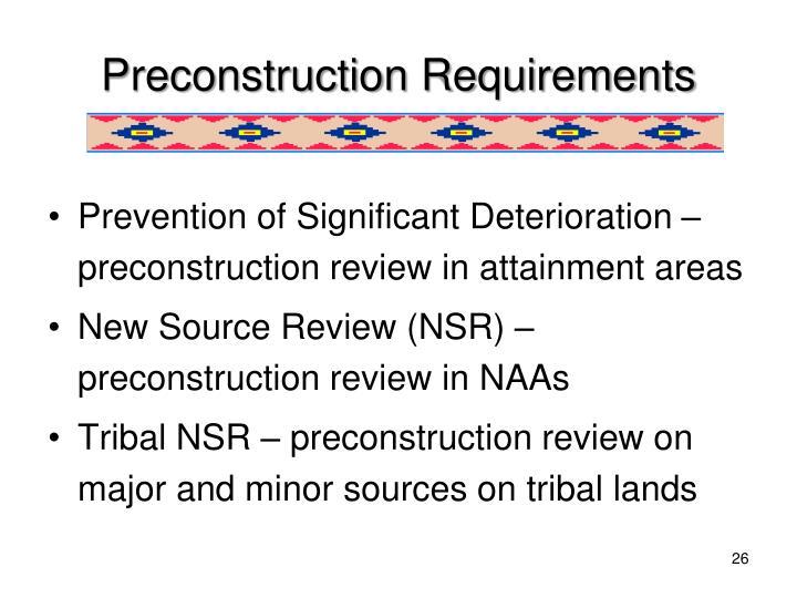 Preconstruction Requirements