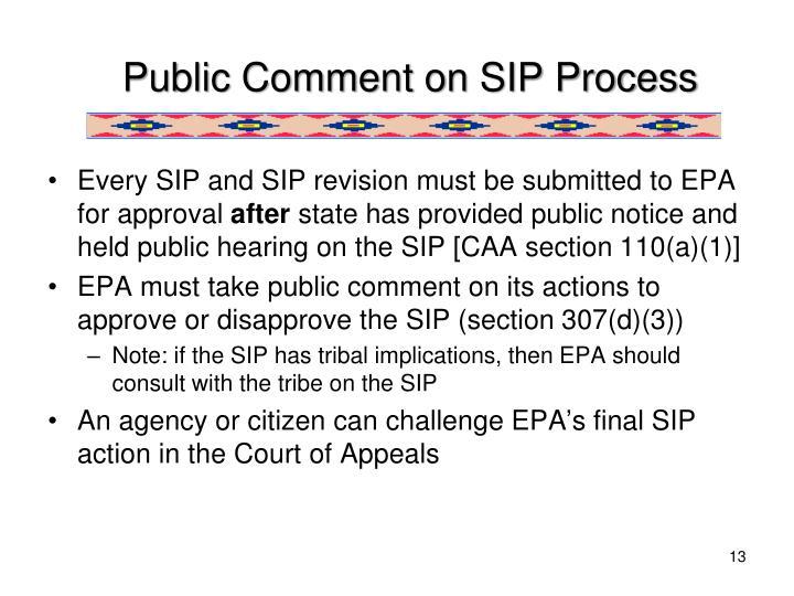 Public Comment on SIP Process