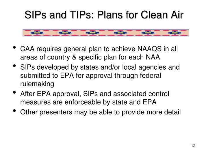 SIPs and TIPs: Plans for Clean Air